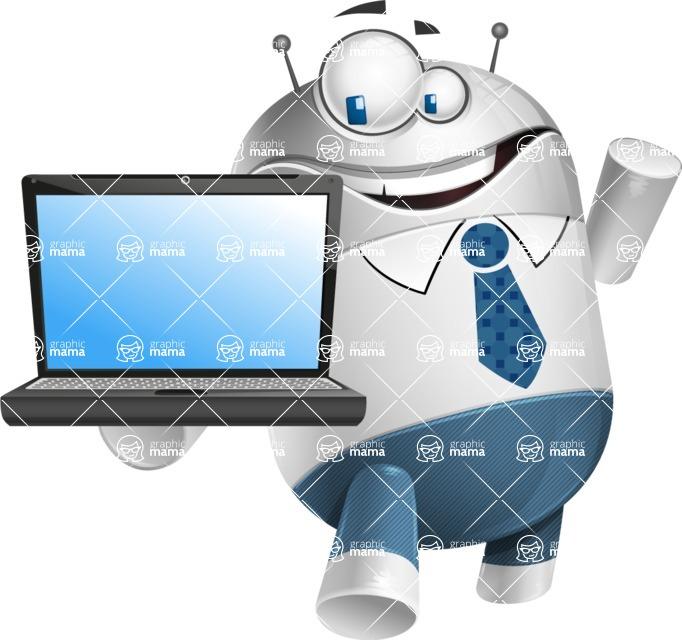 Droid Cartoon Vector Character AKA Ray McTie - Laptop 3