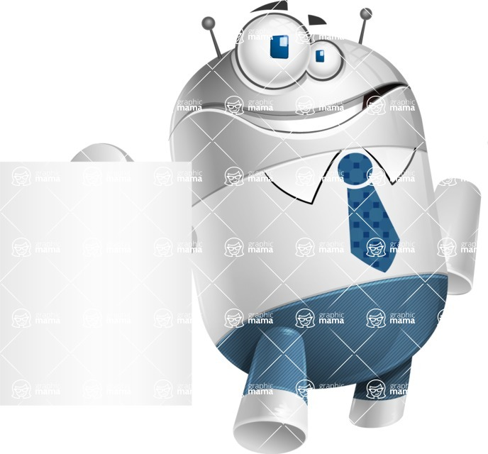 Droid Cartoon Vector Character AKA Ray McTie - Sign 3
