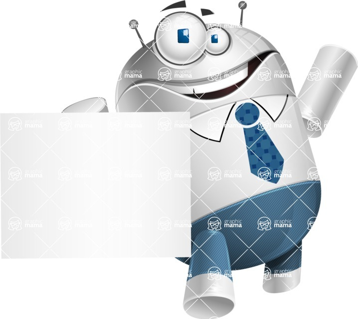 Droid Cartoon Vector Character AKA Ray McTie - Sign 4