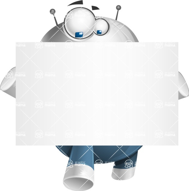 Droid Cartoon Vector Character AKA Ray McTie - Sign 5