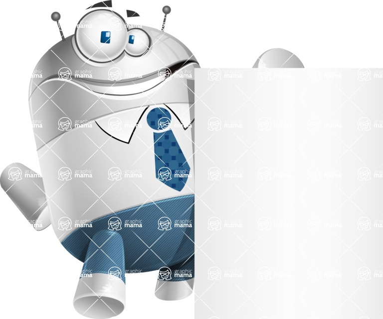 Droid Cartoon Vector Character AKA Ray McTie - Sign 7