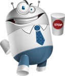 Droid Cartoon Vector Character AKA Ray McTie - Stop