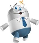 Droid Cartoon Vector Character AKA Ray McTie - Shocked
