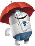 Droid Cartoon Vector Character AKA Ray McTie - Umbrella