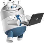 Droid Cartoon Vector Character AKA Ray McTie - Laptop 1