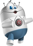 Droid Cartoon Vector Character AKA Ray McTie - Power Button