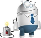 Droid Cartoon Vector Character AKA Ray McTie - Charging