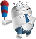 Droid Cartoon Vector Character AKA Ray McTie - Cleaner