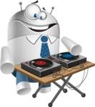 Droid Cartoon Vector Character AKA Ray McTie - DJ
