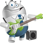 Droid Cartoon Vector Character AKA Ray McTie - Musician