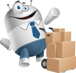 Droid Cartoon Vector Character AKA Ray McTie - Delivery 2