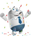 Droid Cartoon Vector Character AKA Ray McTie - Celebrate