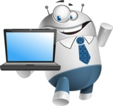 Droid Cartoon Vector Character AKA Ray McTie - Laptop 3