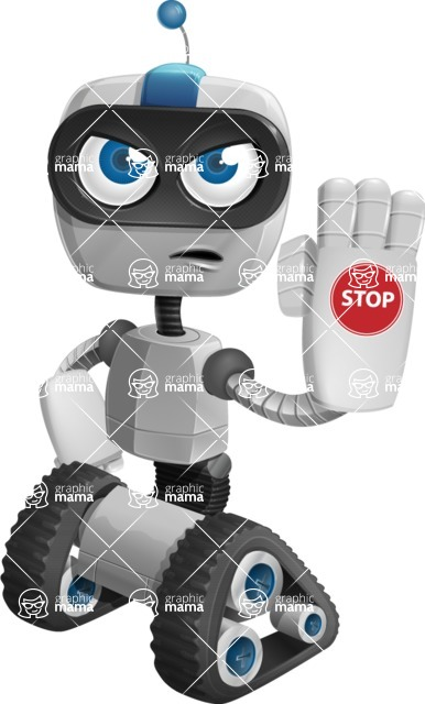 Robot on Wheels Cartoon Vector Character AKA ROWAN - Stop