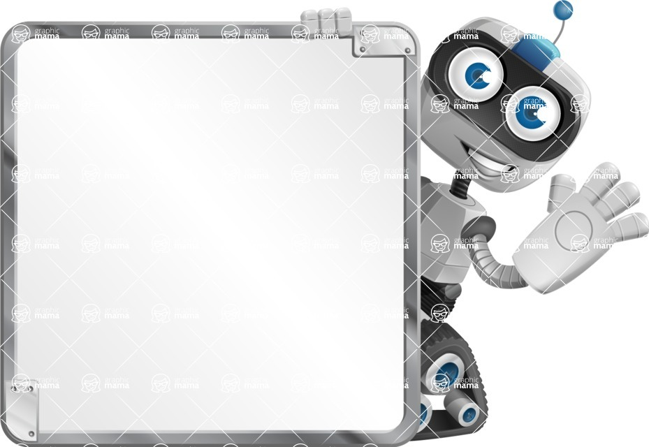 Robot on Wheels Cartoon Vector Character AKA ROWAN - Presentation 2