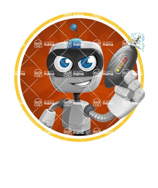 Robot on Wheels Cartoon Vector Character AKA ROWAN - Shape2