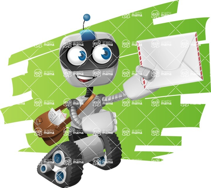 Robot on Wheels Cartoon Vector Character AKA ROWAN - Shape7