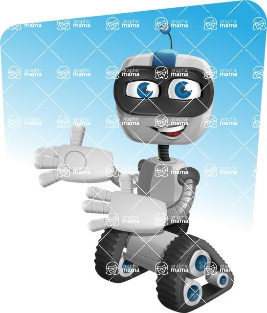 Robot on Wheels Cartoon Vector Character AKA ROWAN - Shape9