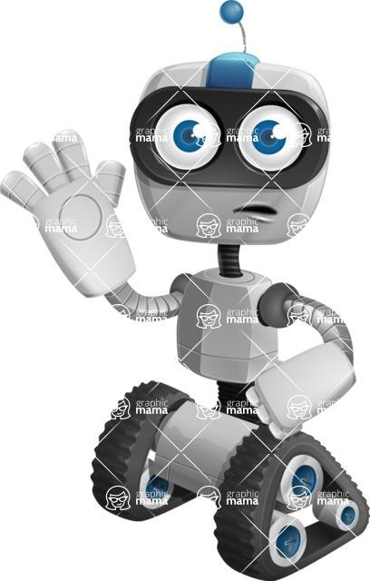 Robot on Wheels Cartoon Vector Character AKA ROWAN - GoodBye