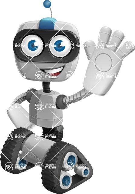 Robot on Wheels Cartoon Vector Character AKA ROWAN - Hello