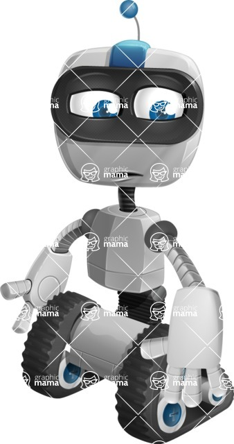 Robot on Wheels Cartoon Vector Character AKA ROWAN - Sad