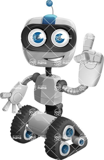 Robot on Wheels Cartoon Vector Character AKA ROWAN - Attention