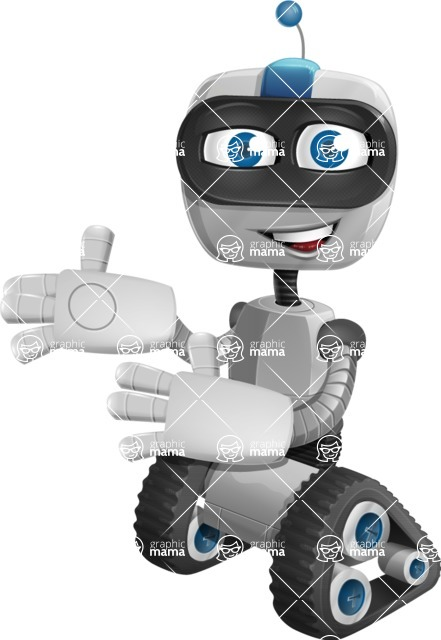 Robot on Wheels Cartoon Vector Character AKA ROWAN - Welcome