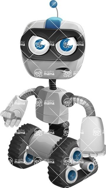Robot on Wheels Cartoon Vector Character AKA ROWAN - Angry