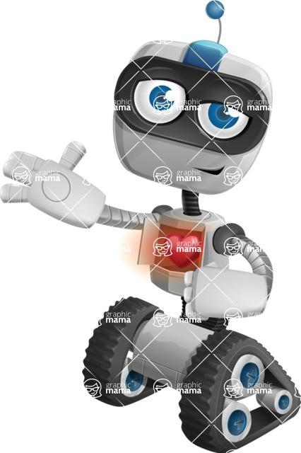 Robot on Wheels Cartoon Vector Character AKA ROWAN - Love