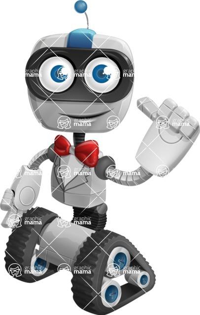 Robot on Wheels Cartoon Vector Character AKA ROWAN - Gentleman