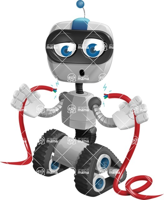 Robot on Wheels Cartoon Vector Character AKA ROWAN - Cable
