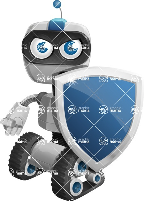 Robot on Wheels Cartoon Vector Character AKA ROWAN - Security