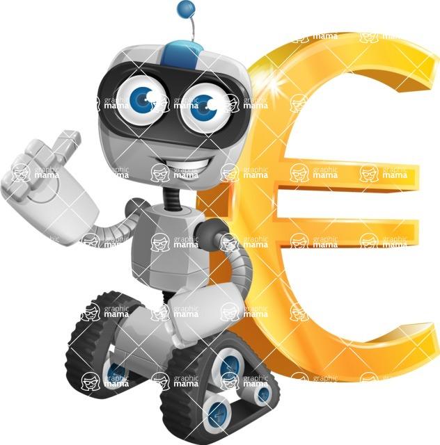 Robot on Wheels Cartoon Vector Character AKA ROWAN - Euro