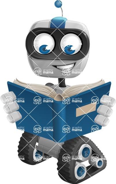 Robot on Wheels Cartoon Vector Character AKA ROWAN - Book
