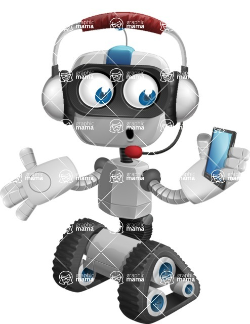 Robot on Wheels Cartoon Vector Character AKA ROWAN - Support