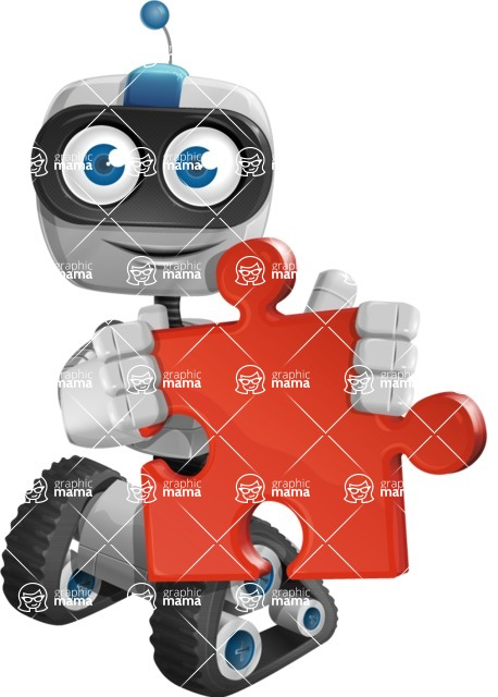 Robot on Wheels Cartoon Vector Character AKA ROWAN - Puzzle