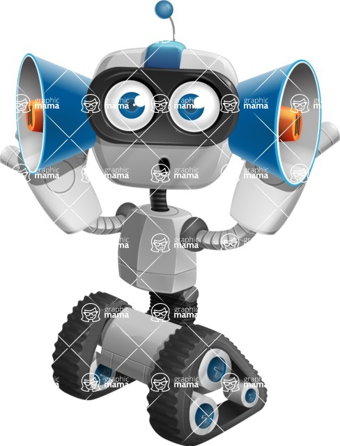 Robot on Wheels Cartoon Vector Character AKA ROWAN - Listen