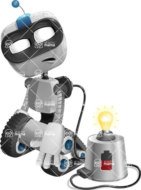 Robot on Wheels Cartoon Vector Character AKA ROWAN - Charging