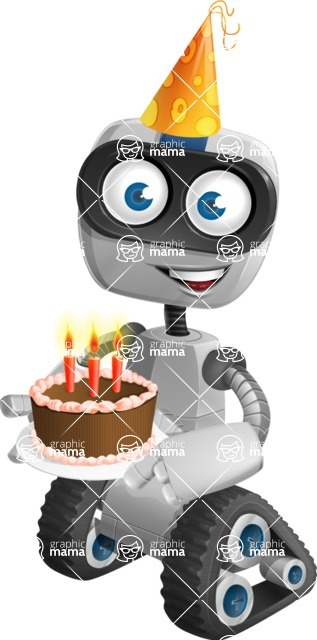 Robot on Wheels Cartoon Vector Character AKA ROWAN - Birthday