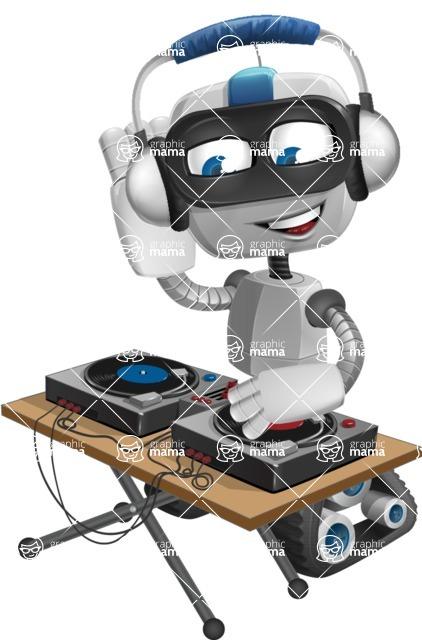 Robot on Wheels Cartoon Vector Character AKA ROWAN - DJ