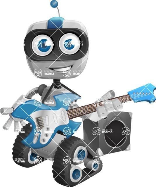 Robot on Wheels Cartoon Vector Character AKA ROWAN - Musician