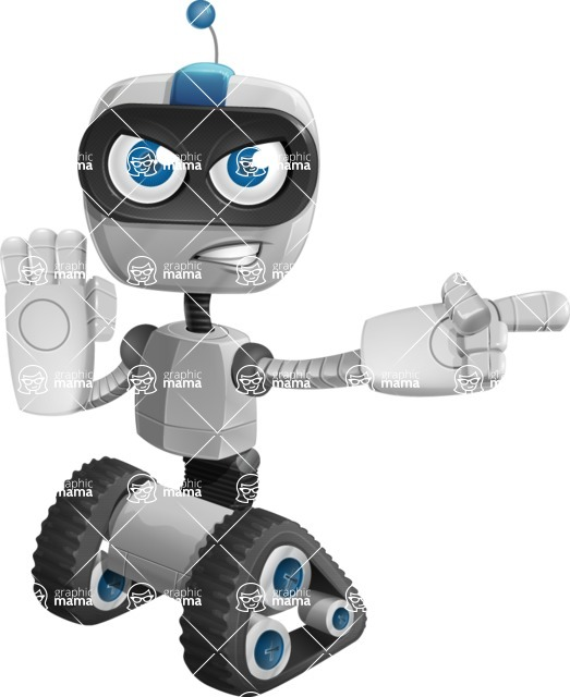 Robot on Wheels Cartoon Vector Character AKA ROWAN - Direct Attention