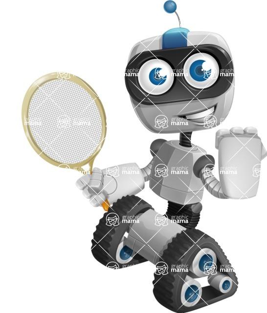 Robot on Wheels Cartoon Vector Character AKA ROWAN - Tennis 2