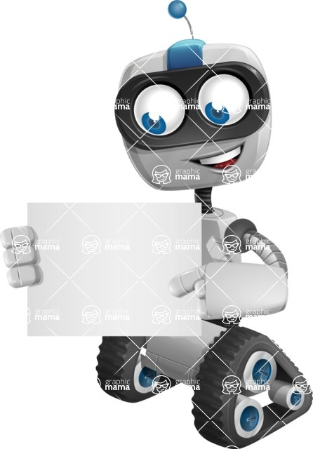 Robot on Wheels Cartoon Vector Character AKA ROWAN - Sign 4
