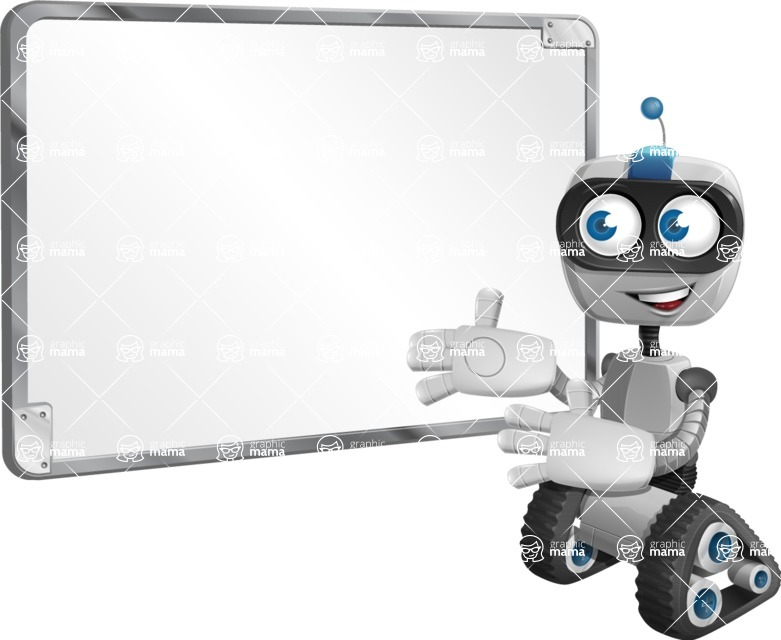 Robot on Wheels Cartoon Vector Character AKA ROWAN - Presentation 1