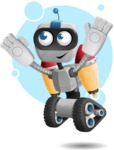 Robot on Wheels Cartoon Vector Character AKA ROWAN - Shape8