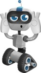 Robot on Wheels Cartoon Vector Character AKA ROWAN - Confused