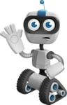 Robot on Wheels Cartoon Vector Character AKA ROWAN - GoodBye