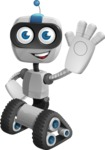 Robot on Wheels Cartoon Vector Character AKA ROWAN - Hello