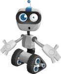 Robot on Wheels Cartoon Vector Character AKA ROWAN - Shocked